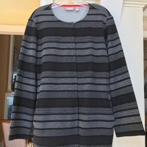 Chico's black & white striped sweater / jacket
